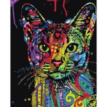 DIY Colorful Cat Oil Painting Art Wall Home Decoration - $10.98