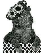 Female Cat flower hat original art print ink pets animal kids nursery ro... - $6.99
