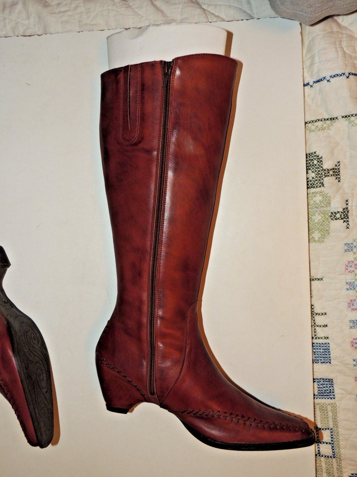 Gorgeous PIKOLINOS Brown Leather Tall Boots w Zipper Flower Size 40 8.5 EUC image 5