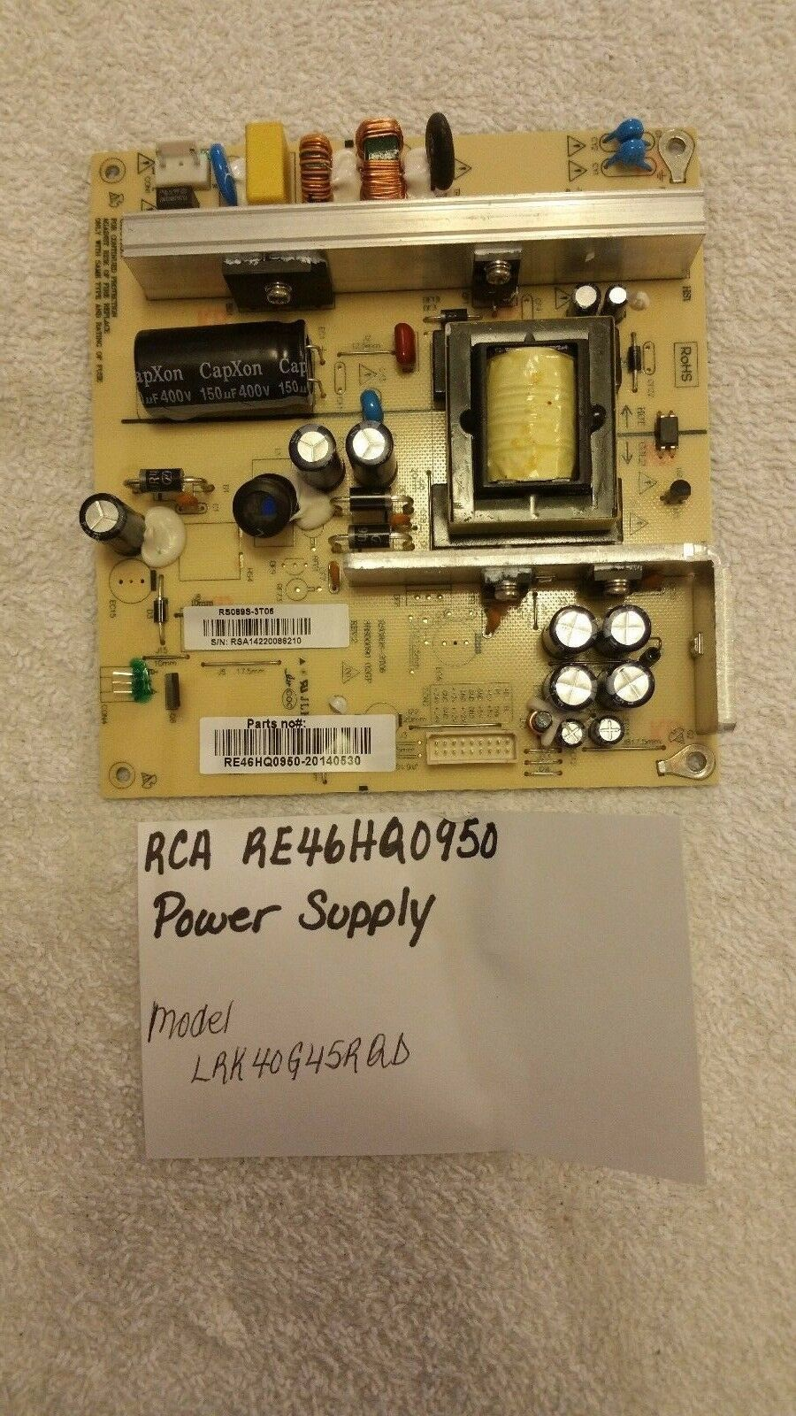 Primary image for RE46HQ0950 Power Supply Board RS089S-3T06 RCA LRK40G45RQD 3BS00090 02GP