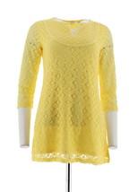Isaac Mizrahi 3/4 Length Sleeve V-Neck Mixed Lace Tunic Citron XXS NEW A274534 - $42.55