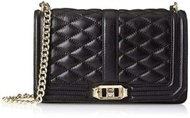 Nwt Rebecca Minkoff Love Quilted Crossbody ~ Black/Gold - $179.99
