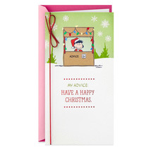 Peanuts Lucy's Advice Booth Money Holder Christmas Card With Envelope - $5.99