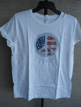 Nwt Hanes Small S/S Graphic Crew Neck Tee Shirt White With Glitzy Peace - £2.87 GBP