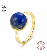OrsaJewels® 925 Sterling Silver Women Rings Simple Design Natural Lapis - $12.29