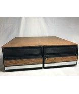 Wood Grain 2 Drawer VHS Video Cassette Tape Storage Case Holds 22 Clean - $19.01