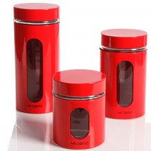 Java Bar Set of 3 Glass Canister Set- Red - $46.60