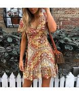 Summer dresses Sexy Women V Neck Print Multicolor Short Sleeve dress wom... - $14.10
