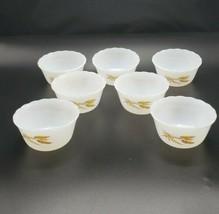 Vtg. Fire-King 424 White Golden Wheat Custard Dish Cup Set Dessert Ramek... - $39.60