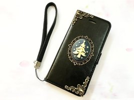Tree leather wallet handmade phone case cover for Apple / Samsung / LG M... - $25.00
