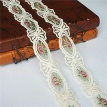 Rose Flower Hollow Carved 2Yards Beige Embroidered Lace Trims Vintage Ap... - $7.27