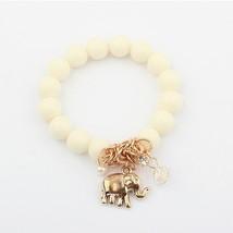 Vintage Bohemia National Beads Lucky Elephant Stretch Bracelet Women  White - $25.99