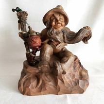 "10"" Austrian Hand Carved Tree Root Dwarf Bearded Gnome Folk Art Holder &... - $600.00"