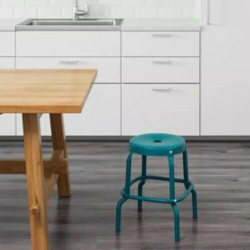 IKEA Raskog Metal Bar Stool Chair Blue 002.993.21 NEW In Package image 3