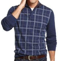 Tasso Elba Men's Blue Twist Shawl Grid Mock Neck Knit Pullover Sweater - $27.99