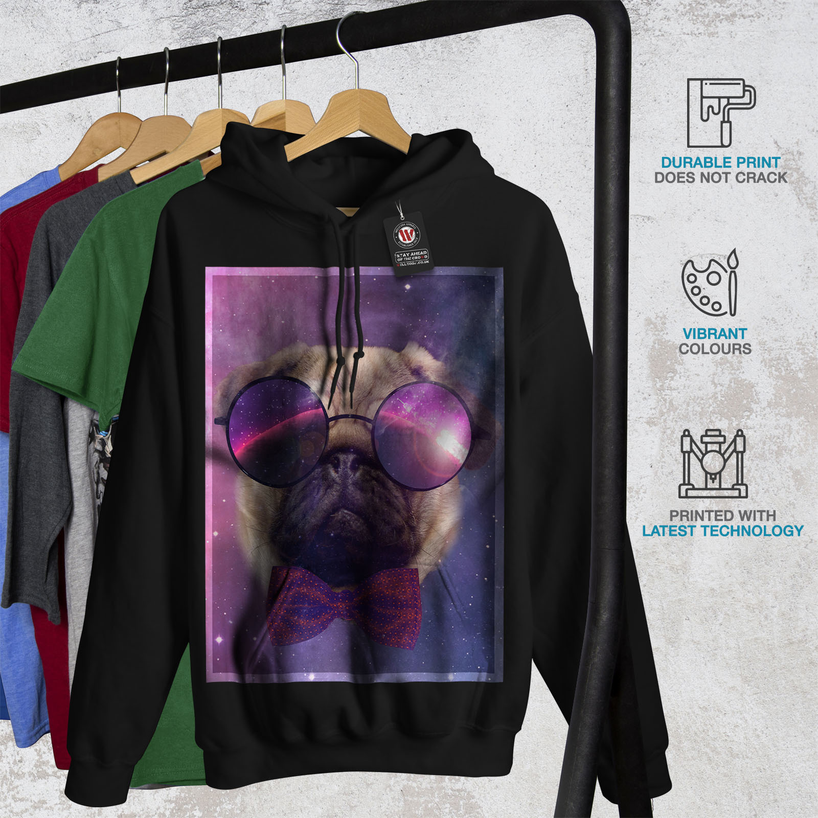 Cosmic Glasses Pug Sweatshirt Hoody Space Dream Men Hoodie