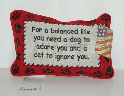 manual Woodworkers Weavers TWBLIF Cream Black Red Balanced Life Dog Cat Pillow