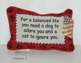 manual Woodworkers Weavers TWBLIF Cream Black Red Balanced Life Dog Cat Pillow image 1