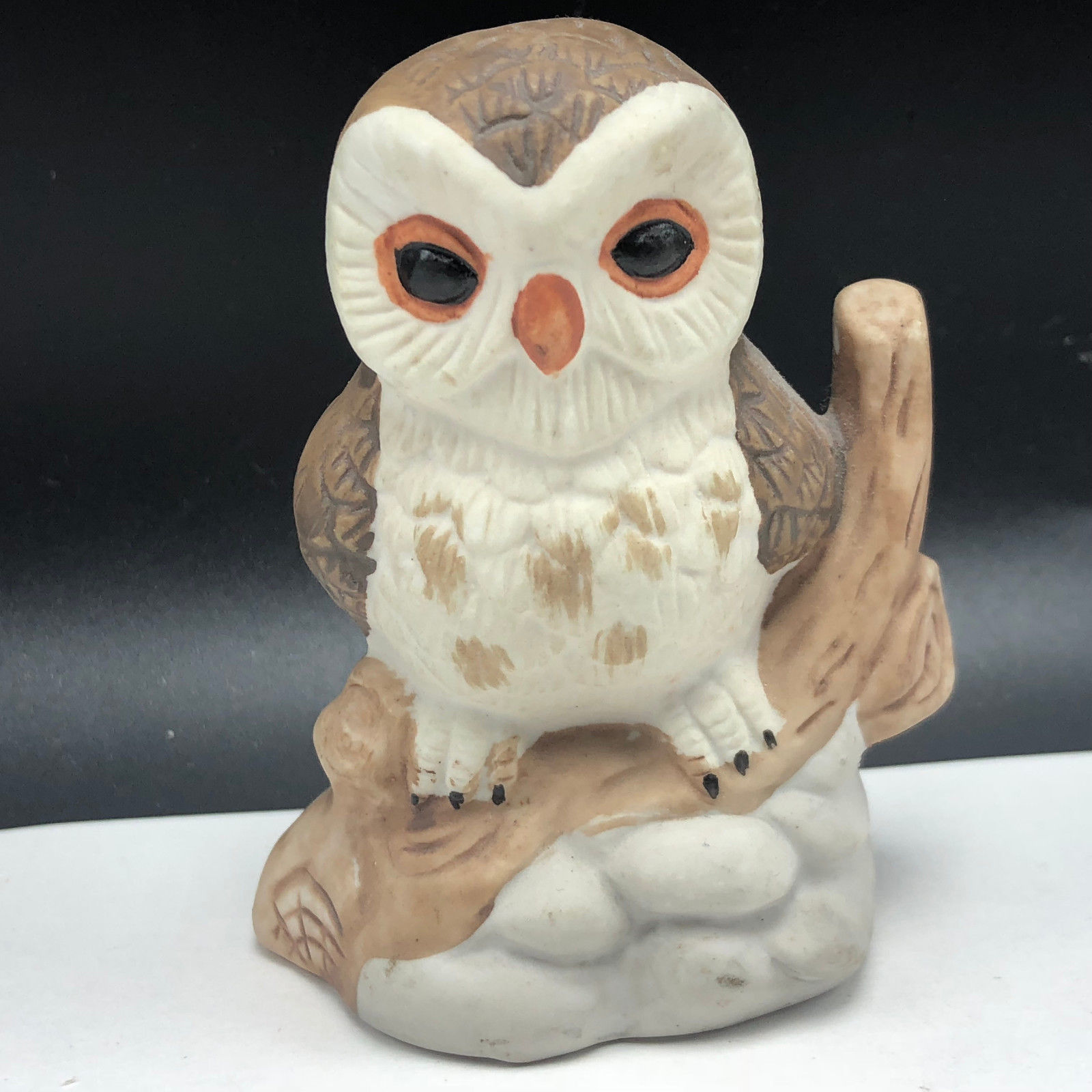 Primary image for VINTAGE OWL FIGURINE porcelain bird miniature statue sculpture spot breast perch