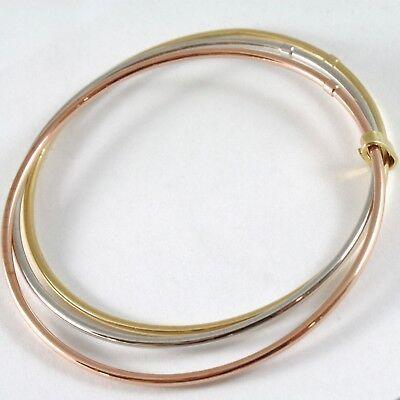Bracelet Rigide en or Jaune Blanc et Rose 750 18K, Triple, Tris, Canne à Lisser image 3