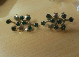 Vintage Gold-tone Green Faceted Prong Set Rhinestone Flower Screw-on Ear... - $44.54