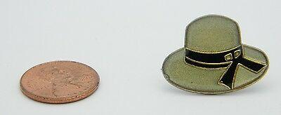 Late 1970's Early 1980's Woman's Gray Black Enamel Bucket Hat Lapel Pin F