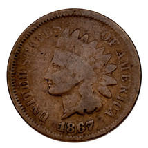 1867 Indian Head Cent 1C Penny (Good, G Condition) Full Rims - $54.44