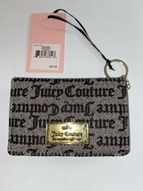 Juicy Couture Gothic Status Card Case Wallet w/Key Ring BLACK/BEIGE ~ NW... - $20.99