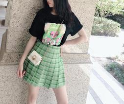 Women Girls Green Plaid Skirt Plus Size Pleated Plaid Skirt Pleated Tennis Skirt image 2
