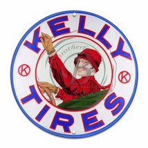 "Kelly Tires Lady Driving Design (Reproduction) 12"" Circle Aluminum Sign - $16.09"