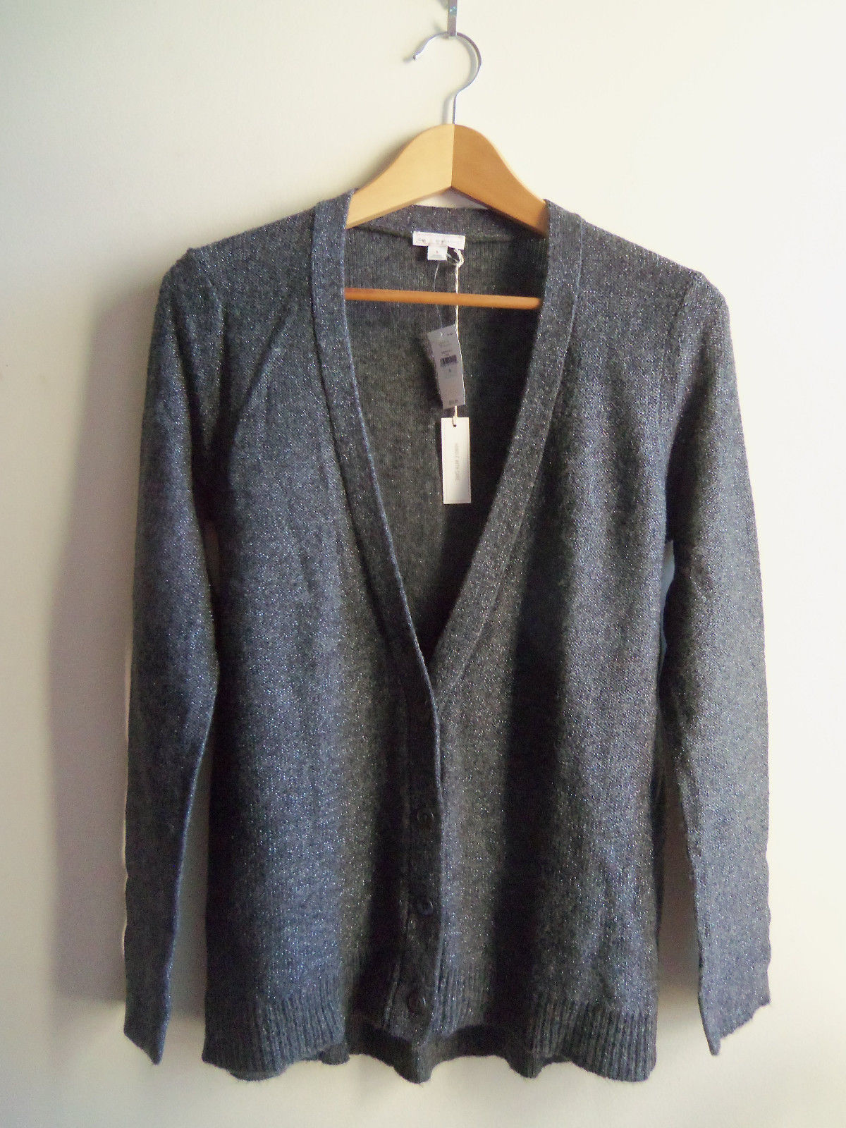 Gap Women's Shimmer Metallic Wool Blend Cardigan Sweater Gray Solid Size S, NWT - $38.08
