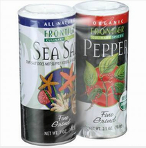 Frontier Herb, Sea Salt, Organic Pepper 9.5oz combo set, fine ground, pi... - $13.49