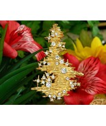 Erwin Pearl Christmas Tree Brooch Pin Gold Tone Austrian Crystals USA - $39.95