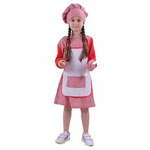 Kids Chef Costume for Girls Toddler Baker Role Play Set with Dress Hat M... - $20.22