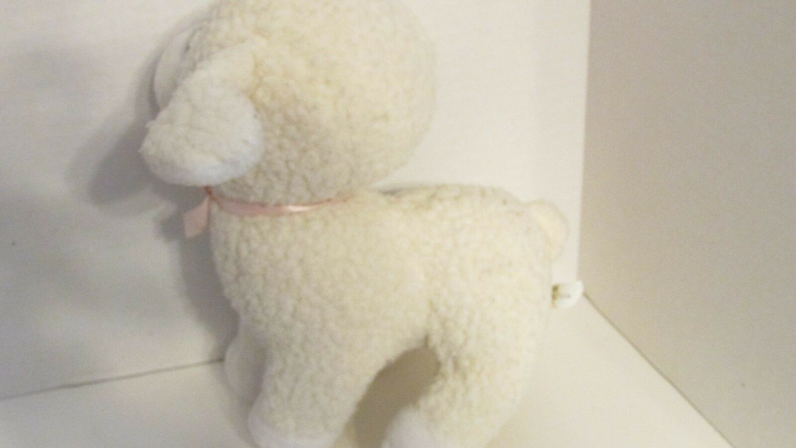 Enesco plush firm standing lamb sheep nubby fur pink bow older off-white cream image 5