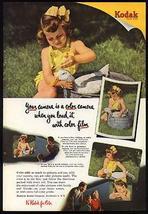 Duck Gets a Bath Yellow Sunsuit Child 1951 Kodak Color Photo Ad - $18.99