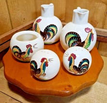 Rare 1940s Helen Motney California Pottery Rooster Condiment Set Wood/Lazy Susan - $98.20