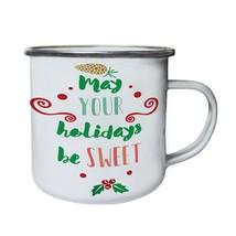 May Your Holidays Be Sweet Retro,Tin, Enamel 10oz Mug n368e - $13.13
