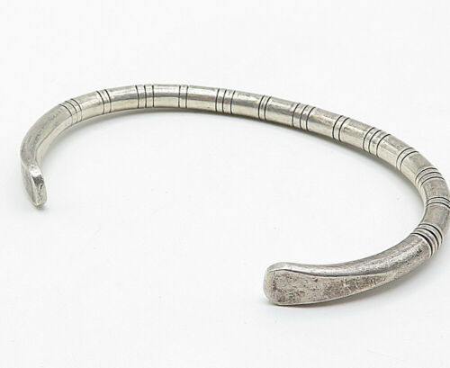 WALLY BROWN NAVAJO 925 Silver - Vintage Tapered End Striped Cuff Bracelet- B4686