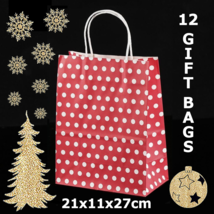 12 Red Paper Party Gift Bags With White Polka Dots 8.3x4.3x10.6in - $12.19