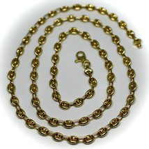 """18K YELLOW GOLD OVAL NAUTICAL MARINER CHAIN 5 MM, 24"""", ANCHOR ROUNDED NECKLACE image 1"""