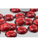20mm Flat Back Round Acrylic Gems Pro Grade - 20 Pieces (Red Ruby H103) - $5.33