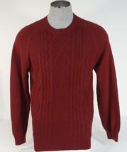 Izod Burgundy Crewneck Cotton Knit Sweater Mens NWT - $63.74
