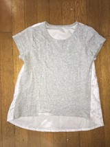 ! childrens place gray white floral lace tee shirt top size medium 7 - 8... - $3.96