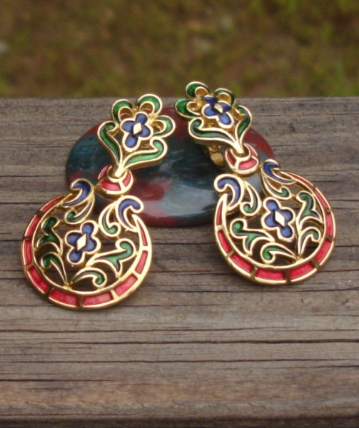 Royal Vintage Crown Trifari Earrings, L'Orient Collection, Red Blue Green Enamel