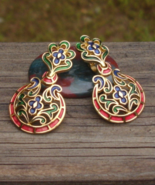 Royal Vintage Crown Trifari Earrings, L'Orient Collection, Red Blue Gree... - $185.00