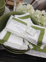 Pottery Barn Set 4 Belgian Flax Linen Frame Napkins Cactus Green 20 sq F... - $34.50