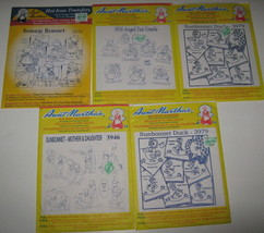 LOT 5 Vintage Aunt Martha's Sunbonnet Hot Iron Transfers 3920 3979 3946 ... - $12.86