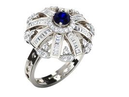 2.11Ct Round Cut Sapphire & Sim.Diamond Fancy Engagement Ring 14K White ... - $148.99