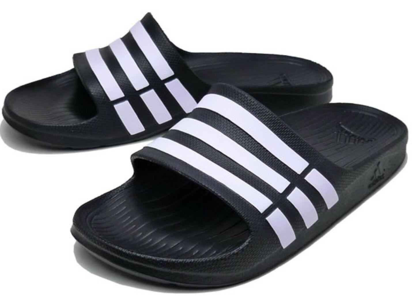 Adidas Duramo G15890 Black White Slides Sandals Flip Flops Shower Pool Shoes